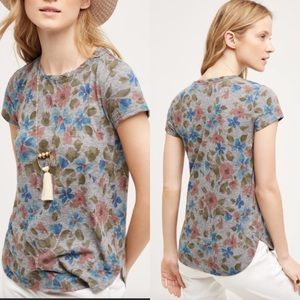 Anthropologie Postmark Flower Days Tee, Gray, M